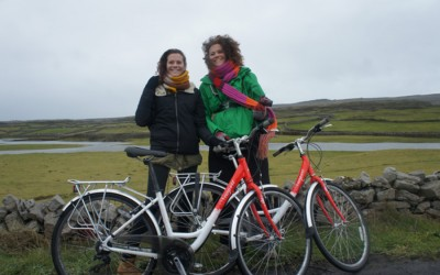Twins cycling to Dun Aonghasa